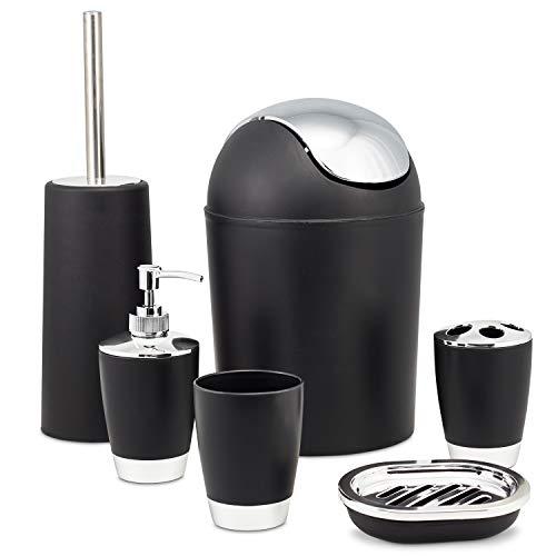 Zuvo 6 Pcs Plastic Bathroom Accessory Set Luxury Bath Accessories Bath Set Lotion Bottles, Toothbrush Holder, Tooth Mug, Soap Dish, Toilet Brush, Trash Can, Rubbish Bin (Black)