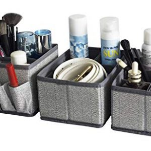 Cosmetic Storage Makeup Organizer, Adjustable Multifunction Storage Box Desk Drawer Divider for Makeup Brushes, Bathroom Countertop or Dresser, Set of 3-Herringbone pattern(Grey)