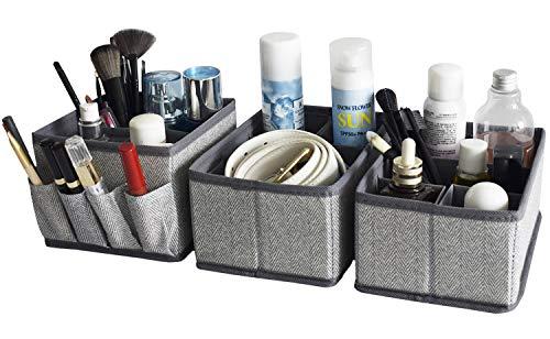 Cosmetic Storage Makeup Organizer, Adjustable Multifunction Storage Box Desk Drawer Divider for Makeup Brushes, Bathroom Countertop or Dresser, Set of 3-Herringbone pattern(Grey)