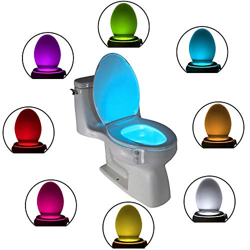 The Original Toilet Night Light Tech Gadget. Fun Bathroom Motion Sensor LED Lighting. Weird Novelty Funny Birthday Gag Stocking Stuffer Gifts Ideas for Him Her Guy Men Boy Toddler Mom Papa Brother