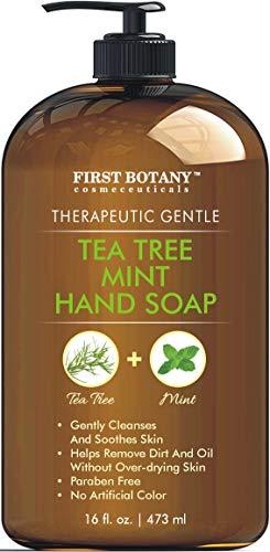 Tea Tree Mint Hand Soap - Liquid Hand Soap with Peppermint, Jojoba and Coconut Oil - Multipurpose Liquid Soap in Pump Dispenser - Natural Bathroom Soap & Liquid hand wash - 16 fl oz