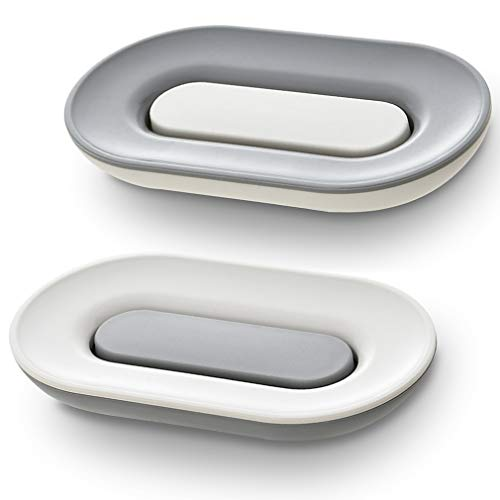 SUBEKYU Soap Dish with Draining Tray, 2 Pack, Bar Soap Holder with Drain, Premium Plastic Soap Dishes for Shower/Bathroom/Sink, White and Gray