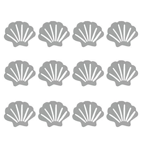 TOPBATHY Bathtub Stickers Non Slip Sea Shell Shaped Safety Shower Treads Adhesive Appliques Bathroom Floor Decals 12pcs