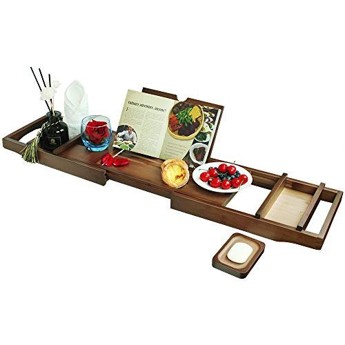 IFELES Bamboo Bathtub Caddy Tray [Durable, Non-Slip], One or Two Person Bath and Bed Tray, Extending Sides Fits Any Tub, Cellphone iPad and Wineglass Holder, Free Soap Holder (Brown Color)