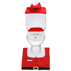 Christmas Santa Toilet Seat Cover, Rug, Tank & Toilet Paper Box Cover Set Red - Funny Christmas Bathroom Decorations - Set of 3