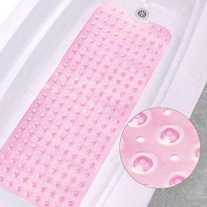 VANZAVANZU Bathtub Mats, 39 x 16 Inch Extra Long Non-Slip Bath Shower Tub Mat, Machine Washable Safe Clean Bathroom Mats with Drain Holes and Suction Cups for Bathroom Accessories (Pink)