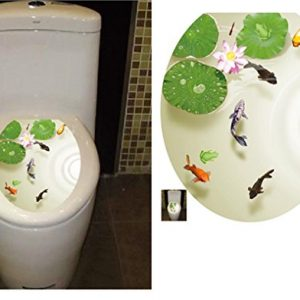 "BIBITIME Bathroom Toilet Seat Cover Decals Sticker Vinyl Toilet Lid Decal Decor (12.99"" x 15.35"", Lotus Flower Carps Fish)"