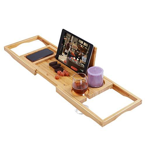 """Utoplike Bamboo Bathtub Caddy Tray Bath Tray for Tub, Adjustable Bathroom Bathtub Organizer with Book Tablet Wine Glass Cup Towel Holder,Distinctive Gift (24.8""""-37.4"""")"""