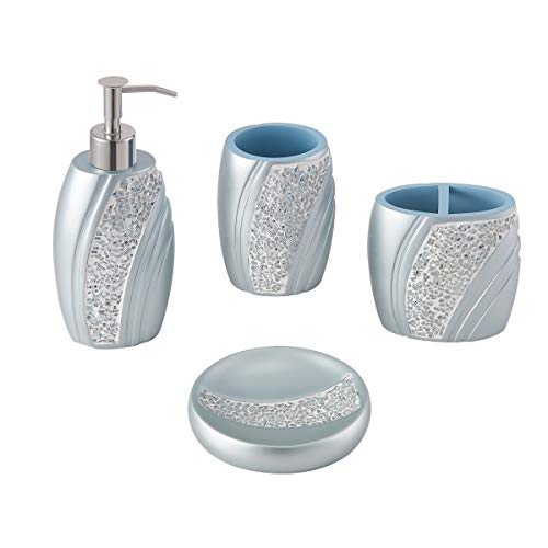 ZCCZ Bathroom Accessories Set Complete, 4 Piece Glass Mosaic Bathroom Set Accessories Bath Accessories Set Bathroom Necessities Set Include Soap Dispenser, Toothbrush Holder, Tumbler, Soap Dish