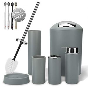 Ohok Bathroom Accessories,6 Pcs Bathroom Accessories Set Includes Toothbrush,Soap Dispenser,Trash Can,Tumbler Cup,Toilet Brush and Holder,Toothbrushes Gift (Gray)