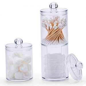 Aaskuu Clear Acrylic Cotton Ball and Swab Holder with Lid, Plastic Cotton Pad Container Organizer, Qtip Dispenser Apothecary Jars for Make Up Pads, Cosmetics, Bathroom