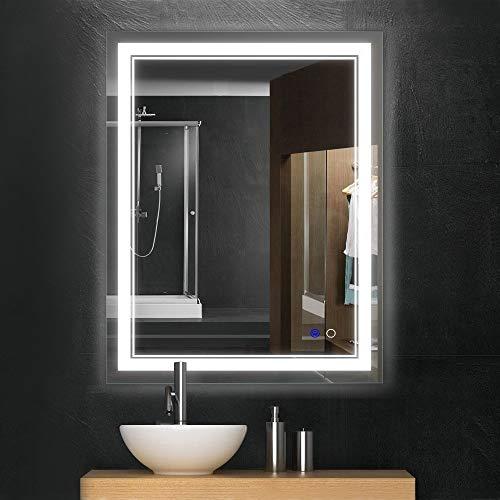 Keonjinn 36 x 28 Inch Bathroom LED Vanity Mirror Anti-Fog Wall Mounted Makeup Mirror with Light (Horizontal/Vertiacl)