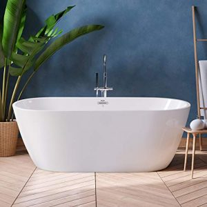 FerdY Freestanding Bathtub Gracefully Shaped Freestanding Soaking Bathtub, F-0538 Glossy White cUPC Certified, (ferdy-0538-59)