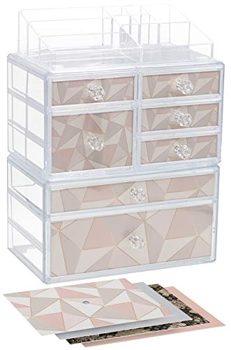 Sorbus Cosmetics Makeup and Jewelry Storage Case Organizer Display Set – Large 3-Piece Stackable Interlocking Drawers Custom Makeup Station – Includes Pink, Gray, Snakeskin, Geometric Print Inserts
