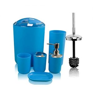 TEKITSFUN Blue Bathroom Accessories Set, 6 Pieces Plastic Gift Bath Accessory Sets Luxury Ensemble Includes Toothbrush Holder,Toothbrush Cup,Soap Dispenser,Soap Dish,Toilet Brush Holder,Trash Can