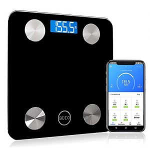BUIO Platinum Smart Bluetooth Scale - Digital Bathroom Weight Scale for Body Fat, BMI, Muscle Mass & 9 More - Accurate Scales with Bright Display - Compatible with Apple Health & Android Apps