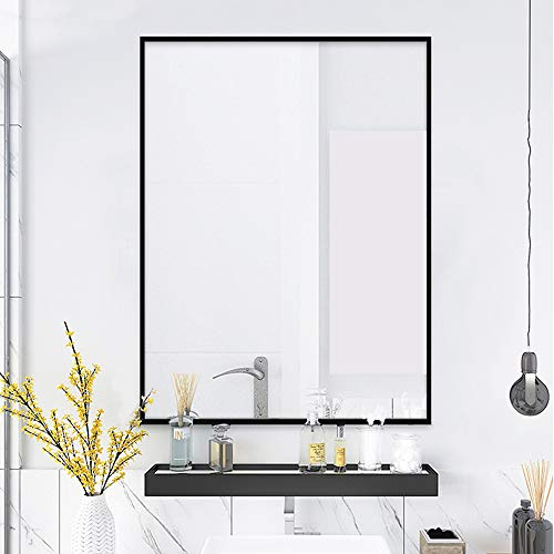 "QEQRUG Framed Large Modern Wall-MountedFrame Rectangle Mirror for Bathroom, Bedroom, Living Room,Black,Peaked Trim (30""X40"", Black)"