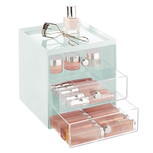 mDesign Plastic Makeup Organizer Storage Station Cube with 3 Drawers for Bathroom Vanity, Cabinet, Countertops - Holds Lip Gloss, Eyeshadow Palettes, Brushes, Blush, Mascara - Mint Green/Clear