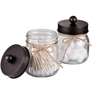 Amolliar Mason Jar Bathroom Vanity Organizer - Rustic Farmhouse Decor Bronze Bathroom Accessories - Qtip Dispenser Holder Canister Glass for Q-Tips,Cotton Swabs,Rounds,Ball,Flossers/Bronze,2-Pack