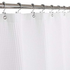 Barossa Design Cotton Blend Shower Curtain Honeycomb Waffle Weave, Hotel Collection, Spa, Washable, White, 72 x 72 inch