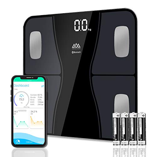 SENSSUN Smart Scales, Bathroom Bluetooth Digital Weighing Body Fat Scale Body Composition Monitor, Electronic BMI Scales for Weight Loss Fitness Tracking with APP, Black