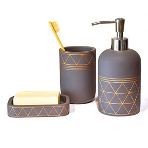 Satu Brown Bathroom Set Bathroom Accessories 3 Pieces Bathroom Soap Dispenser, Toothbrush Holder, Soap Dish Luxury Set for Bathroom Decor and Home Gift