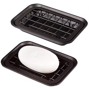 Kitchen and Bathroom Soap Dish Tray - Metal 2-Piece Soap Dish Tray with Drainage Grid and Holder for Kitchen Sink Countertops to Store Soap, Sponges, Scrubbers - Rust Resistant - 2 Pack (Bronze)