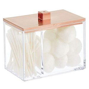 mDesign Modern Square Bathroom Vanity Countertop Storage Organizer Canister Jar for Cotton Swabs, Rounds, Balls, Makeup Sponges, Bath Salts - 2 Divided Sections - Clear/Rose Gold