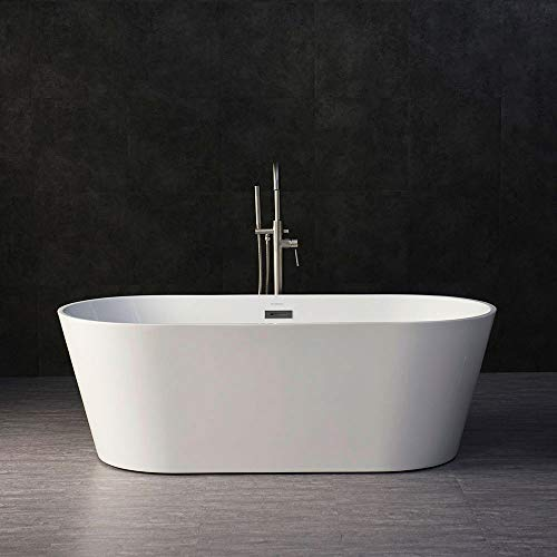 "WOODBRIDGE BTA-1513 Acrylic Freestanding Bathtub Contemporary Soaking Tub with Brushed Nickel Overflow and Drain, BTA1513 White, 67"" B-0013"
