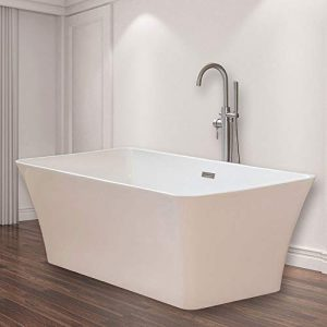 "WOODBRIDGE B-0004 White 67"" Acrylic Freestanding Bathtub Contemporary Soaking Tub with Brushed Nickel Overflow and Drain, BTS1609"