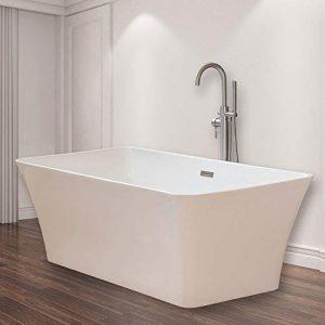"WOODBRIDGE B-0004 White 67"" Acrylic Freestanding Bathtub Contemporary Soaking Tub with Brushed Nickel Overflow and Drain, BTS1609"