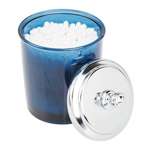 mDesign Bathroom Vanity Storage Organizer Apothecary Canister Jar for Cotton Balls, Swabs, Makeup Sponges, Bath Salts, Hair Ties, Jewelry - Dark Blue/Chrome Lid