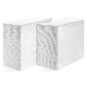 American Homestead Disposable Hand Towels for Bathroom-Paper Guest Napkins -White Linen-Like Bulk Multifold Wipes-Hygienic Solution For Wedding Reception or Dinner Party (Pack of 200, Smooth)