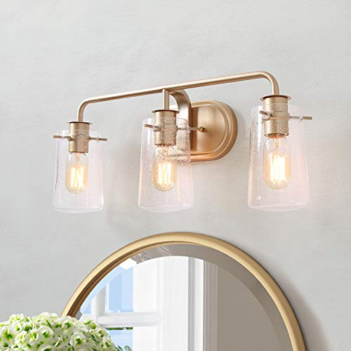 KSANA Gold Vanity Light 3 Modern Bathroom Fixture with Seeded Glass Shade