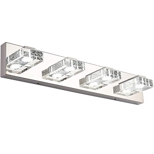 Bathroom Light,SOLFART 4 Lights Modern Glass Stainless Steel Vanity Wall Light Over Mirror LED Bathroom Lighting Fixtures