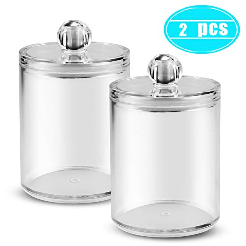 Twdrer 2 Pack Premium Quality Small Clear Plastic Qtip Dispenser Jars with Lids,Cotton Swab Cotton Ball Cotton Rounds Swab Holder Canister for Bathroom Accessories