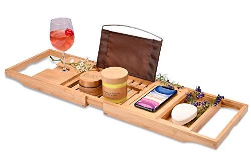 Bamboo Bathtub Tray - Perfect Expandable Bathtub Caddy with Reading Rack or Tablet Holder, This Premium Bath Tray Includes a Wine Glass Holder and a Bonus Soap Holder