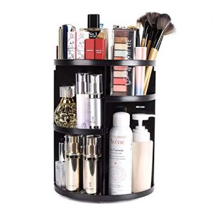 sanipoe 360 Rotating Makeup Organizer, DIY Adjustable Makeup Carousel Spinning Holder Storage Rack, Large Capacity Make up Caddy Shelf Cosmetics Organizer Box, Great for Countertop, Black
