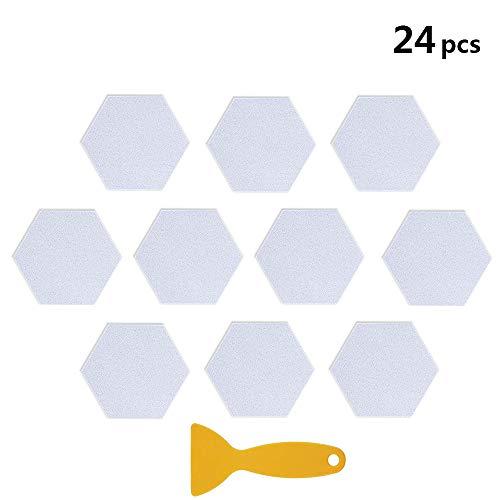 UCOFFEE Bathtub Stickers Non-Slip,24 Pieces Hexagon Safety Shower Treads Adhesive Decals Anti-Slip Appliques with Premium Scraper