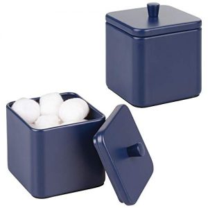 mDesign Metal Bathroom Vanity Countertop Storage Organizer Canister Apothecary Jar for Cotton Swabs, Rounds, Balls, Makeup Sponges, Blenders, Bath Salts - Square, 2 Pack - Navy Blue