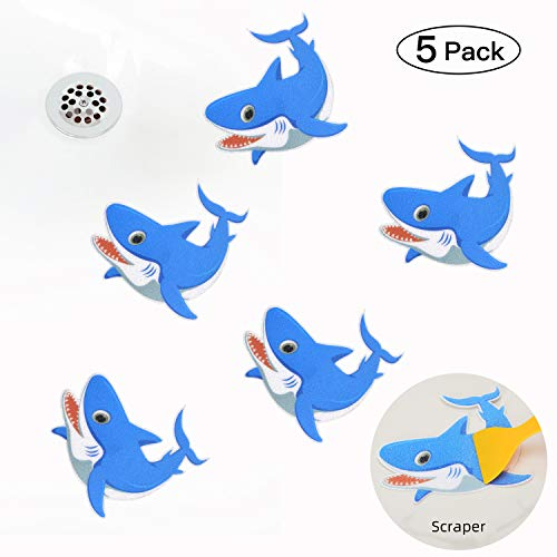 KarlunKoy Non Slip Bathtub Stickers Safety Shower Treads Sticker Tub Tattoo Shark Shaped Bathroom Applique Decal with Scraper Pack of 5(Blue)