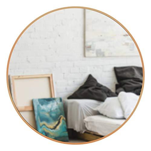 "Yokstore 24"" Gold Round Wall Mirror - Aluminum Brushed Frame Decorative Mirror for Entryways Bedroom Living Room Bathroom Vanity CircleMirror"