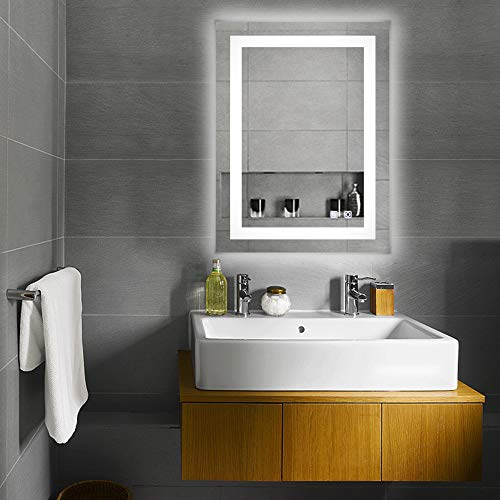 """Bonnlo Led Dimmable Bathroom Mirror LED Lighted Wall Mounted Mirror for Bathroom Vanity Mirror with Touch Button and Anti-Fog Function