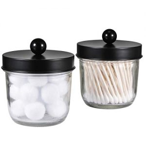 Mason Jar Bathroom Vanity Organizer - Farmhouse Decor Apothecary Jars Bathroom Accessories - Qtip Holder Dispenser Glass for Qtips,Cotton Swabs,Rounds,Flossers,Hair Band / 2-Pack (Black)