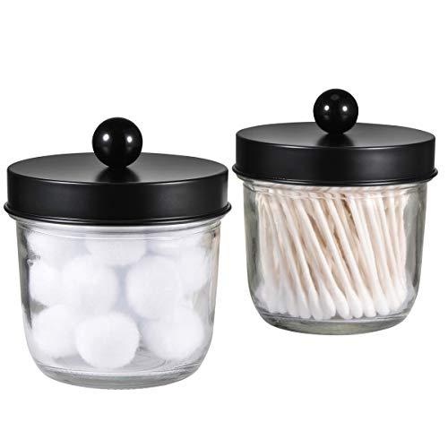 Mason Jar Bathroom Vanity Organizer - Farmhouse Decor Apothecary Jars Bathroom Accessories - Qtip Holder Dispenser Glass for Qtips,Cotton Swabs,Rounds,Flossers,Hair Band / 2-Pack (Black)