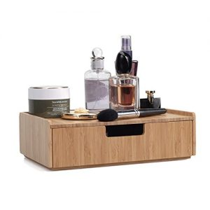 MobileVision Bamboo Makeup Drawer Organizer, Cosmetics Storage Box, Break Resistant Display Case and Drawer