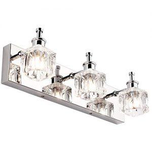 PRESDE Vanity Lights Bathroom Fixture Over Mirror 3 Lights LED Modern Chrome Fixtures Crystal Glass Globe