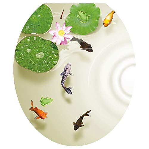 3D Lotus Fish Water Bathroom Toilet Seat Lid Cover Decals Stickers Pond Frog Goldfish PVC Sticker Removable Self-Adhesive Restroom Decor Art Decoration 12.8X14.8inch (A)