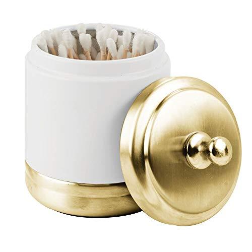 mDesign Metal Bathroom Vanity Storage Organizer Canister Jar for Cotton Balls, Swabs, Makeup Sponges, Bath Salts, Hair Ties, Jewelry - Matte White/Soft Brass