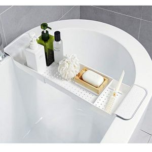 DALAIER Expandable Bathtub Tray,Adjustable Bathtub Caddy Tray and Organizer for Book/Wine/Phone,Washing Colander PP+TPR Material for Vegetable and Fruit (White)